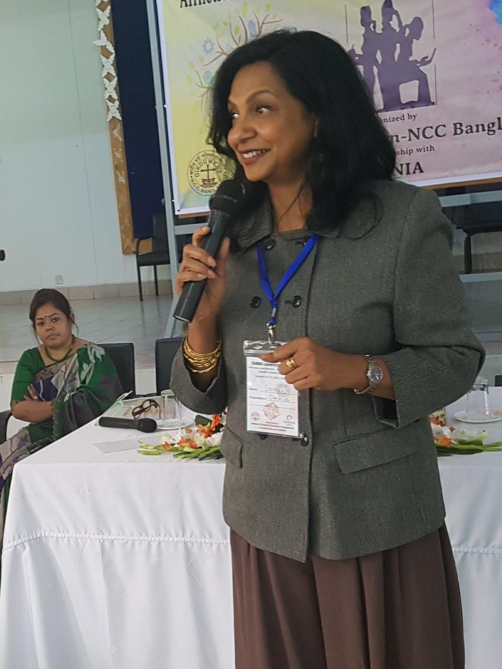 OMNIA Leader Soraya Deen addressing issues of patriarchy in Bangladesh