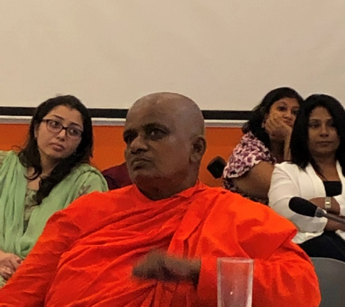 A group of high-powered women gathered to support OMNIA's work on Women's Initiatives headed by Ms. Soraya Deen. Among them were two Bhikkuni's (female Buddhist monks), including Bhikkuni Uppalawanna. Despite having an order of 3000, they struggle to gain official recognition.