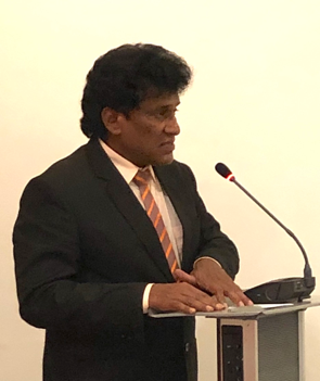 "The Hon. Mano Ganesan, Sri Lanka's Minister for National Integration, addresses a ""Friends of OMNIA"" gathering in Colombo"