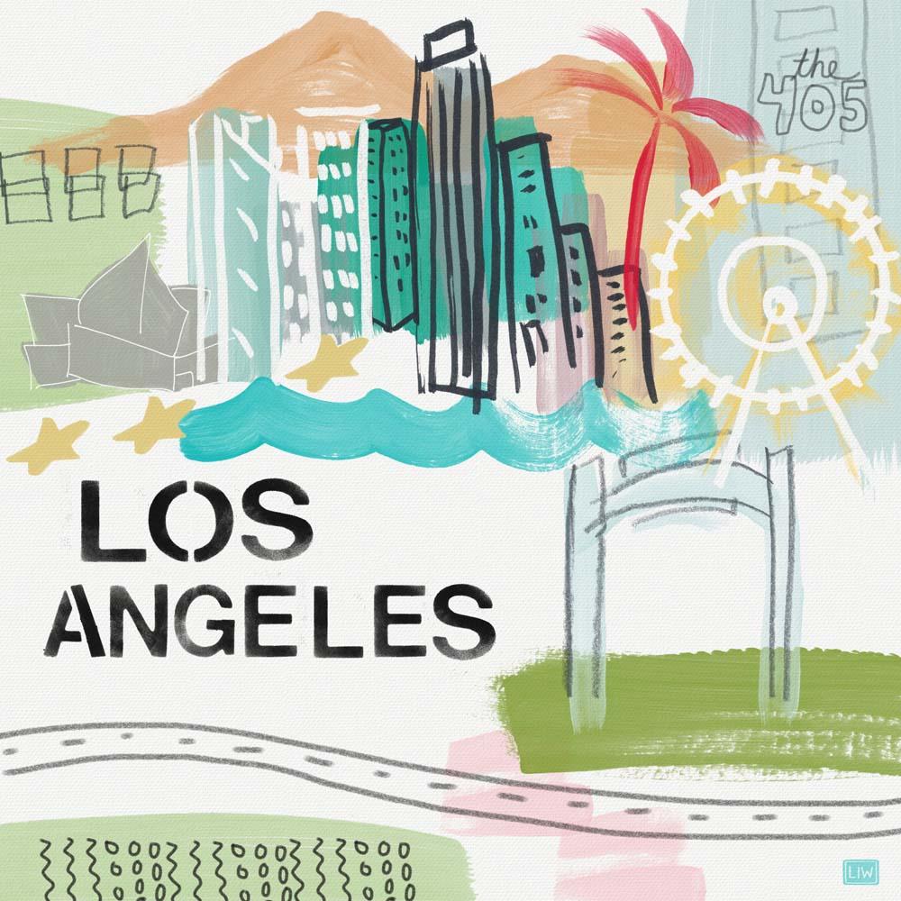 Los Angeles- mixed-media on canvas.