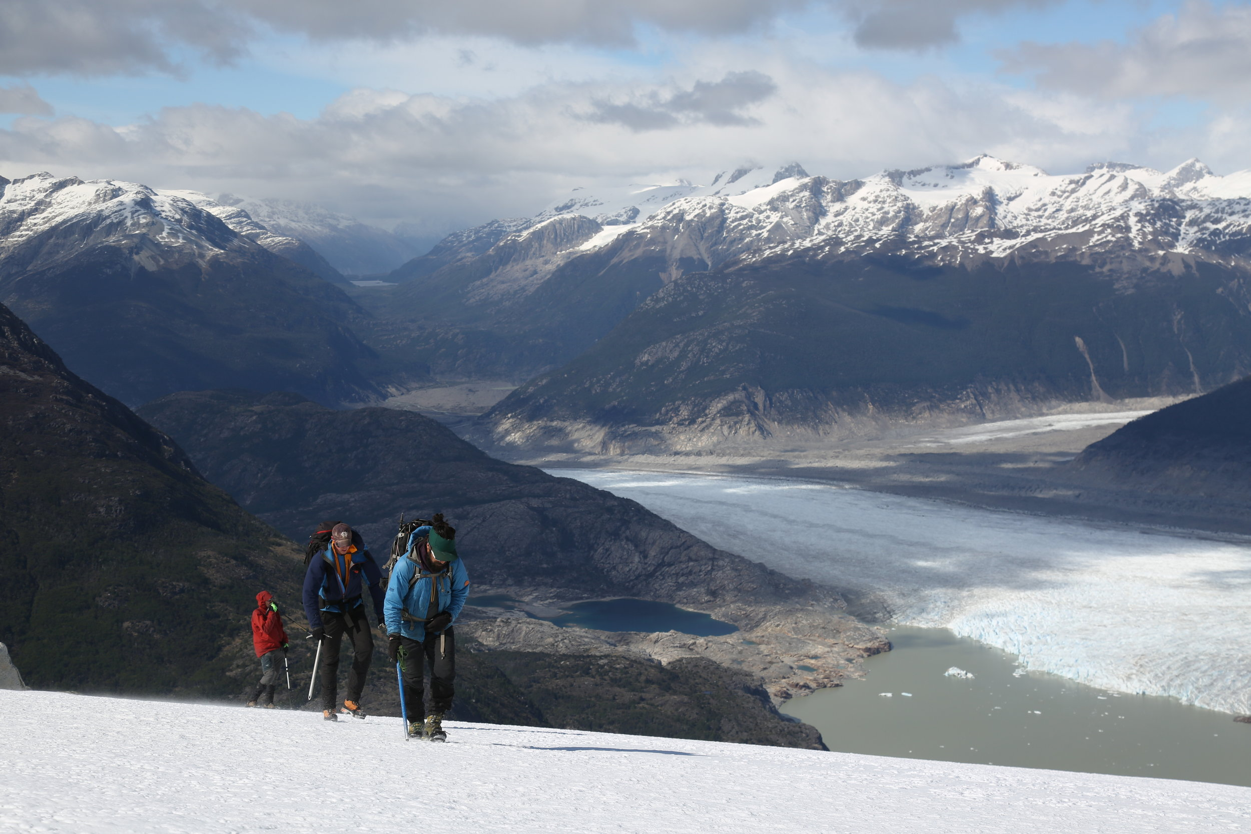 Headed up the South Slope, with a view of the Lago CaChet 2, the Colonia Glacier, and Lugana Corazón Incognito behind us.