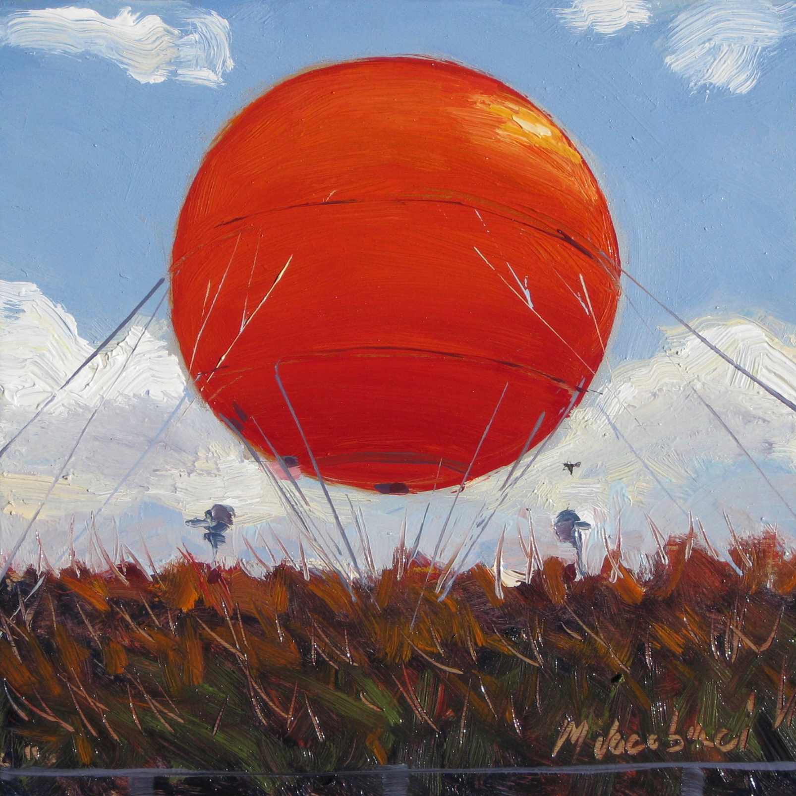 Red Balloon 6x6 oil