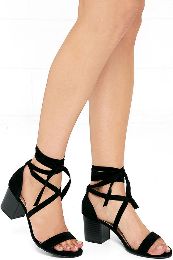 THIS MOMENT BLACK SUEDE LACE-UP HEELS