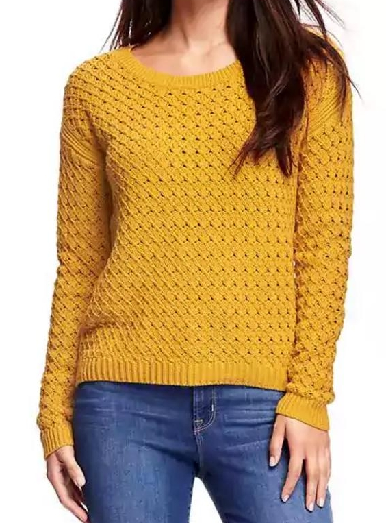 Hi-Lo Honeycomb-Stitch Pullover for Women