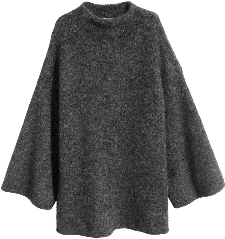 H&M - Knit Mock Turtleneck Sweater - Black Melange