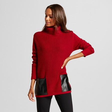 Women's Pleather Pocket Tunic Sweater - August Moon