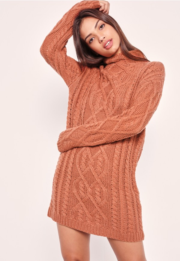 Chunky Oversized Cable Sweater Dress Pink