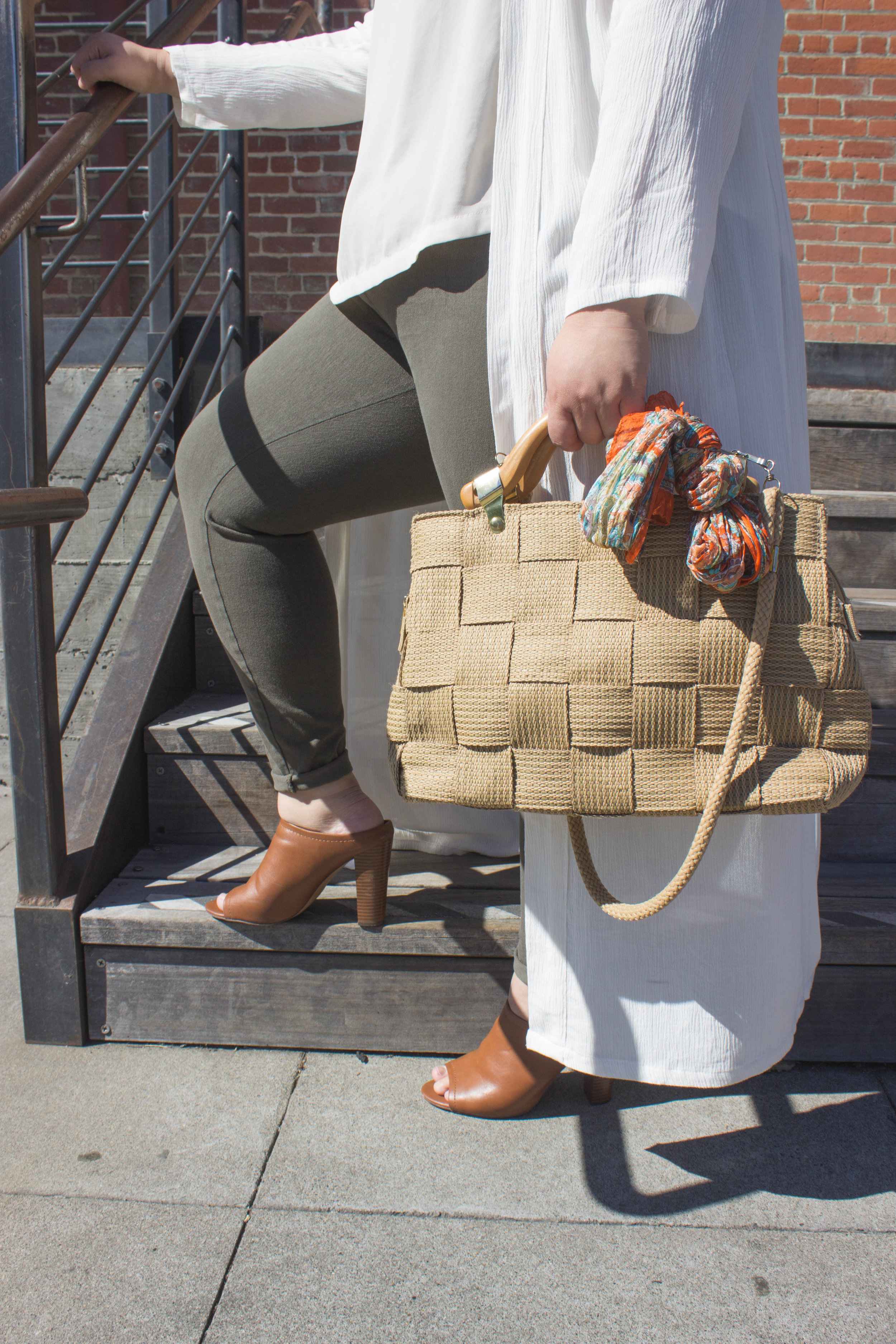 + Brown heeled mules+ Thrifted woven bag -
