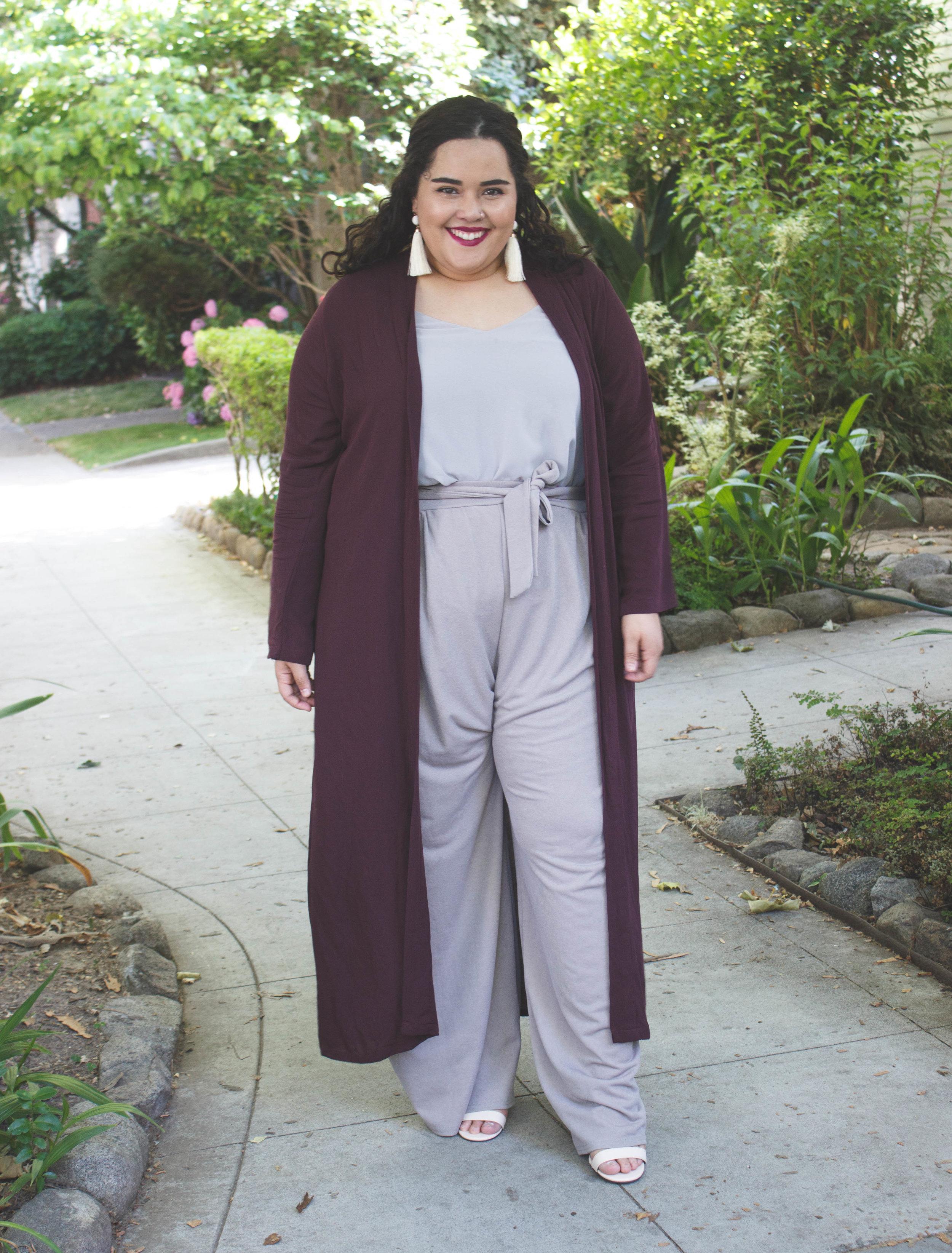 A Plum Duster + Grey chiffon cami+ Grey wide leg trousers -