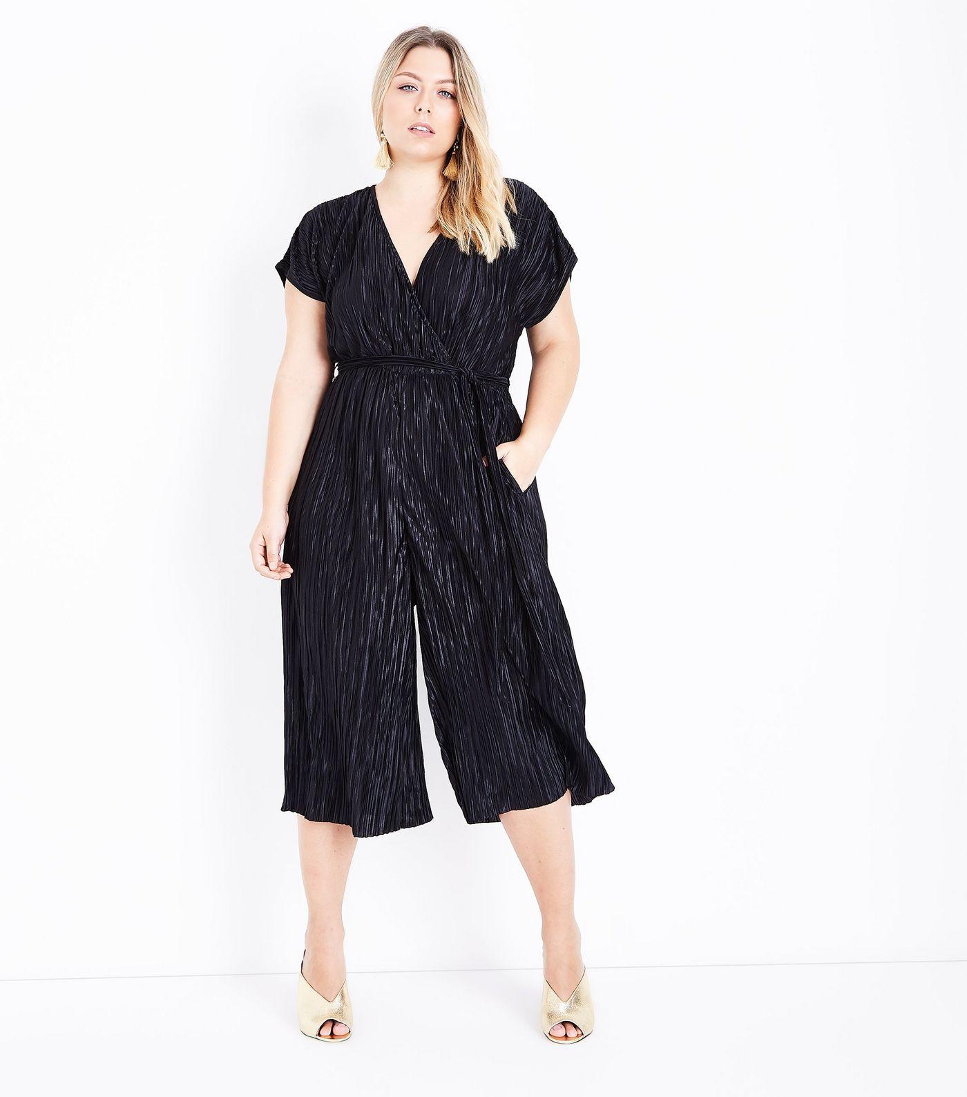Black Plisse Wrap Front Jumpsuit - $31.02