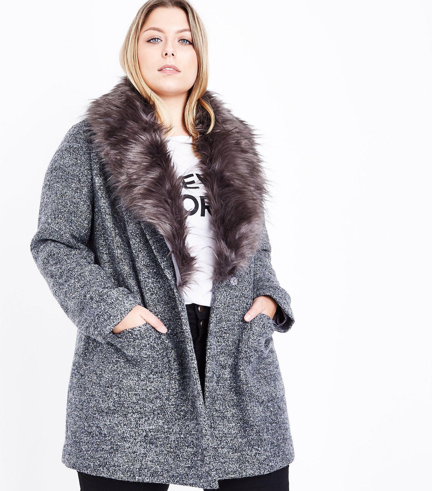 Curves Black Speckled Faux Fur Collar Coat - $62.05