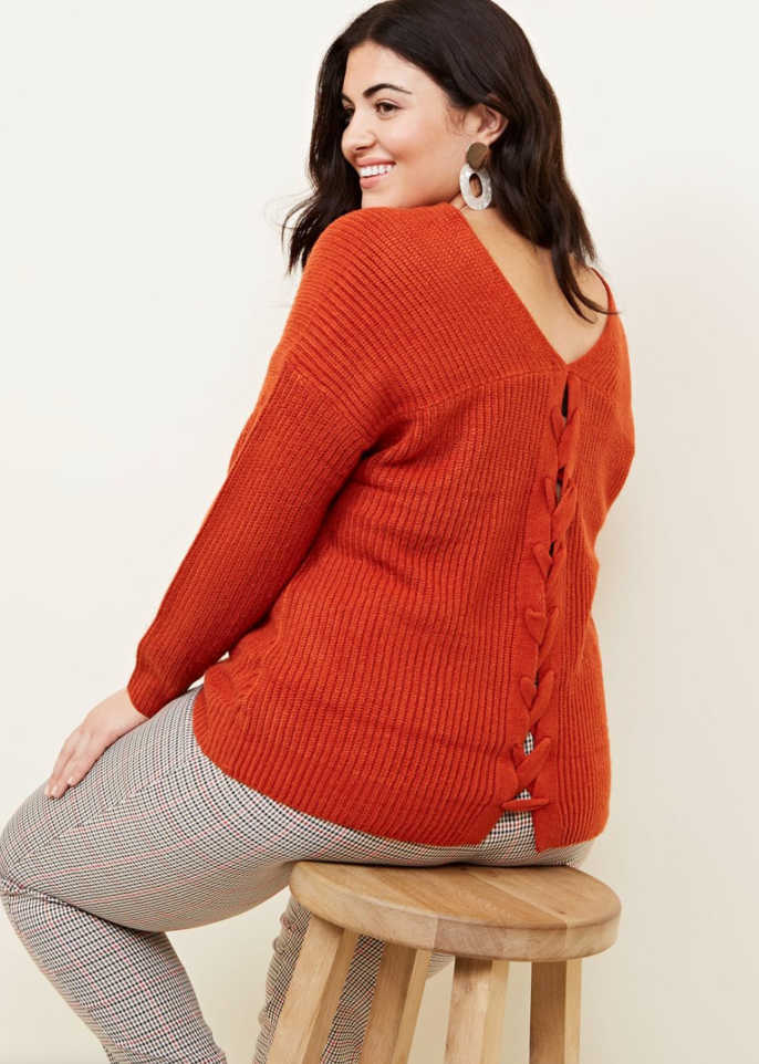 Curves Orange Lattice Back Jumper - £14.99