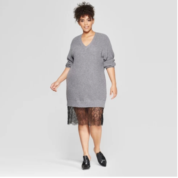 Women's Plus Size 3/4 Sleeve Lace Tunic Sweater - Who What Wear™ Gray - $42.99