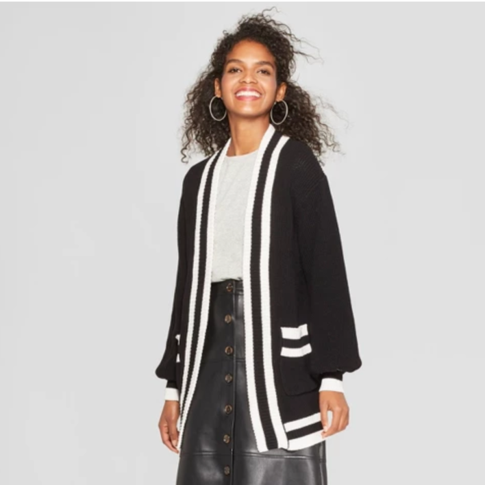 Women's Striped Long Sleeve Varsity Cardigan - Who What Wear™ Black - $34.99