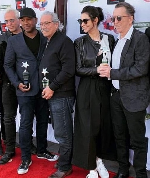 From left to right: John Jacobs, Michael & Edward James Olmos, Stella Velon & Jean Gabriel Kauss