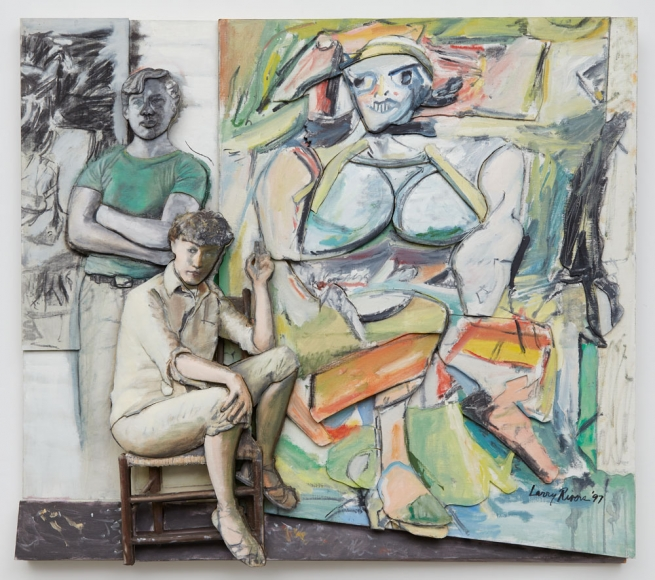 Bill and Elaine de Kooning and 'Woman I', 1997  oil on canvas on sculpted foamboard  55 1/2 x 65 x 7 inches