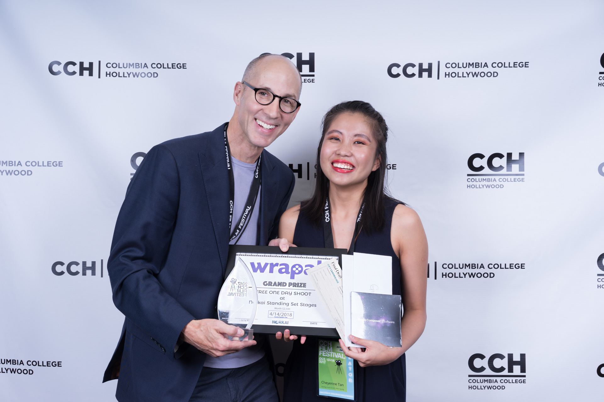2017 1st Place Winner Cheyenne Tan with    Columbia College Hollywood President Bill Smith