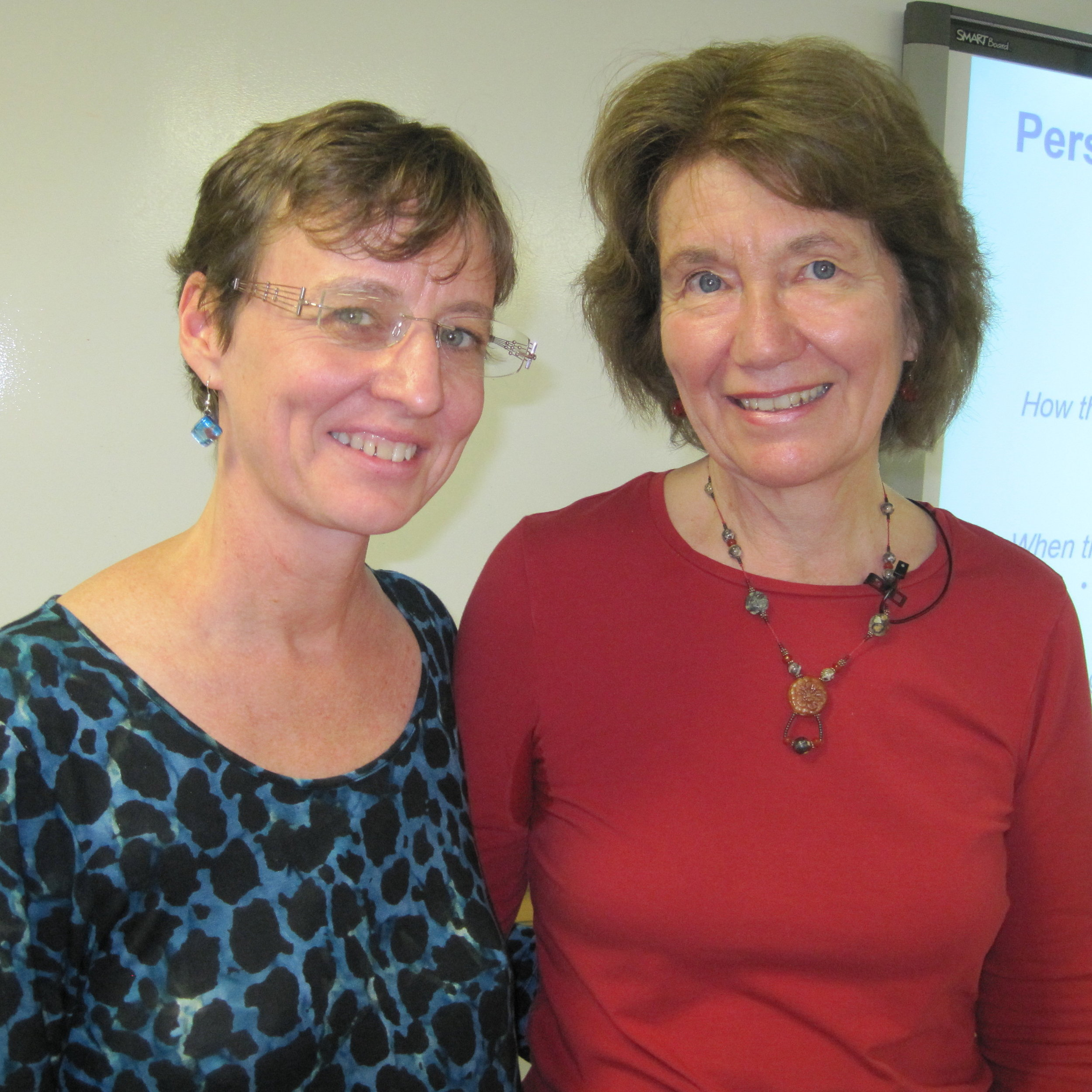 """Mary Kay Parkinson and Elaine Aron """"linking"""" at a workshop Elaine presented in San Francisco on working with highly sensitive people.Our greatest resource is each other!"""