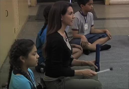 Annaka Harris  teaching mindfulness in a LA public school.