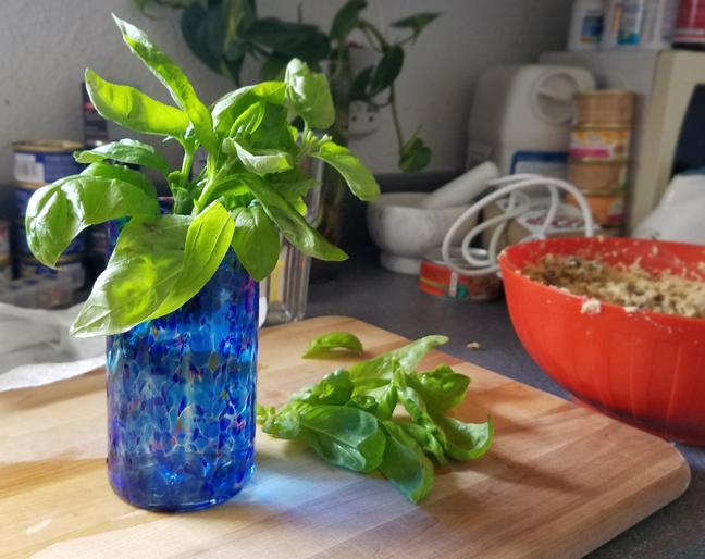 Fresh Basil and an Artisan Glass