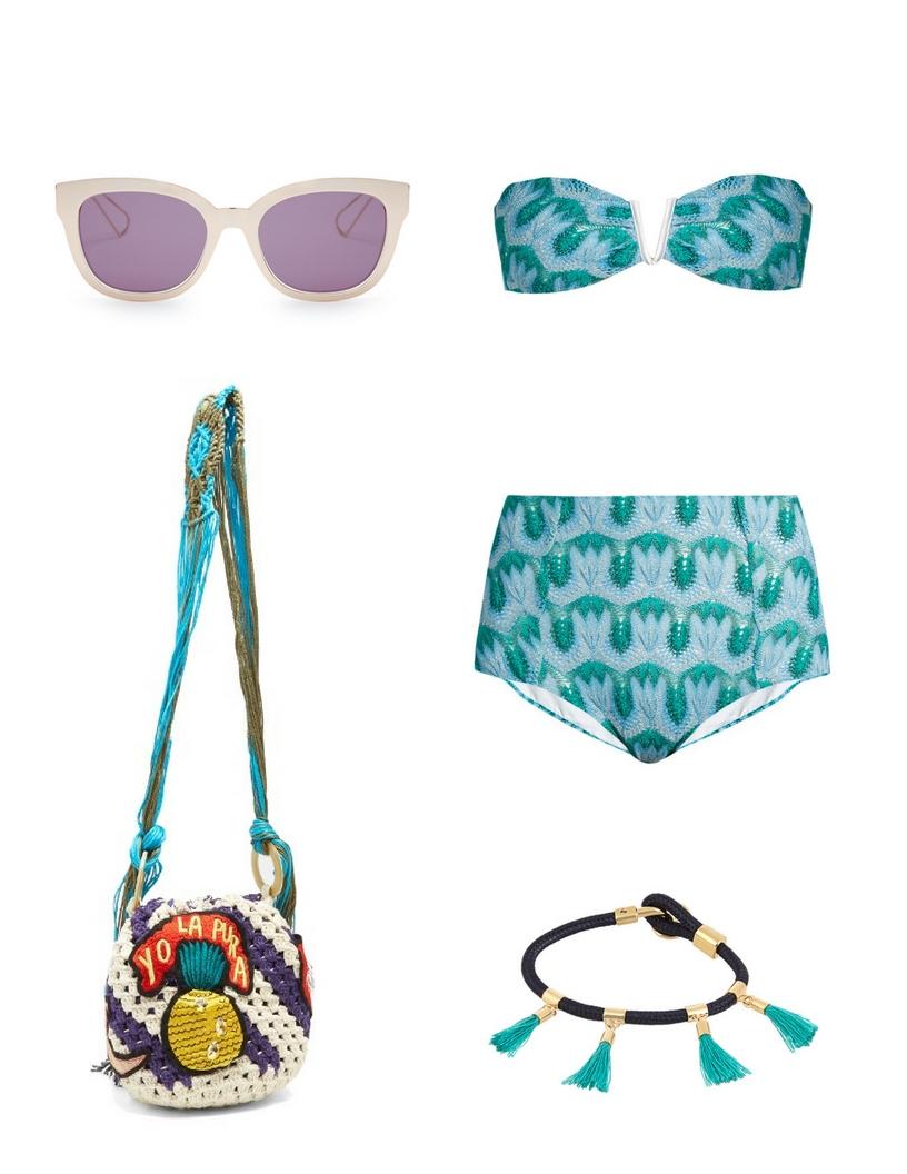 Dior sunglsses, Missoni high-waist bandeau bikini, Chloé marin bracelet, Peter Pilotto bag