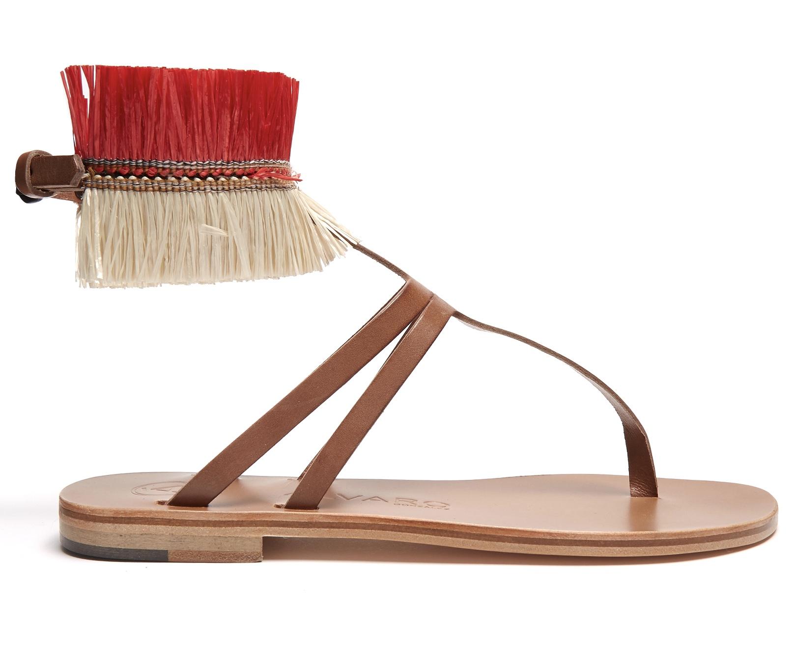 Álvaro Arianna rafia-embellished leather sandals