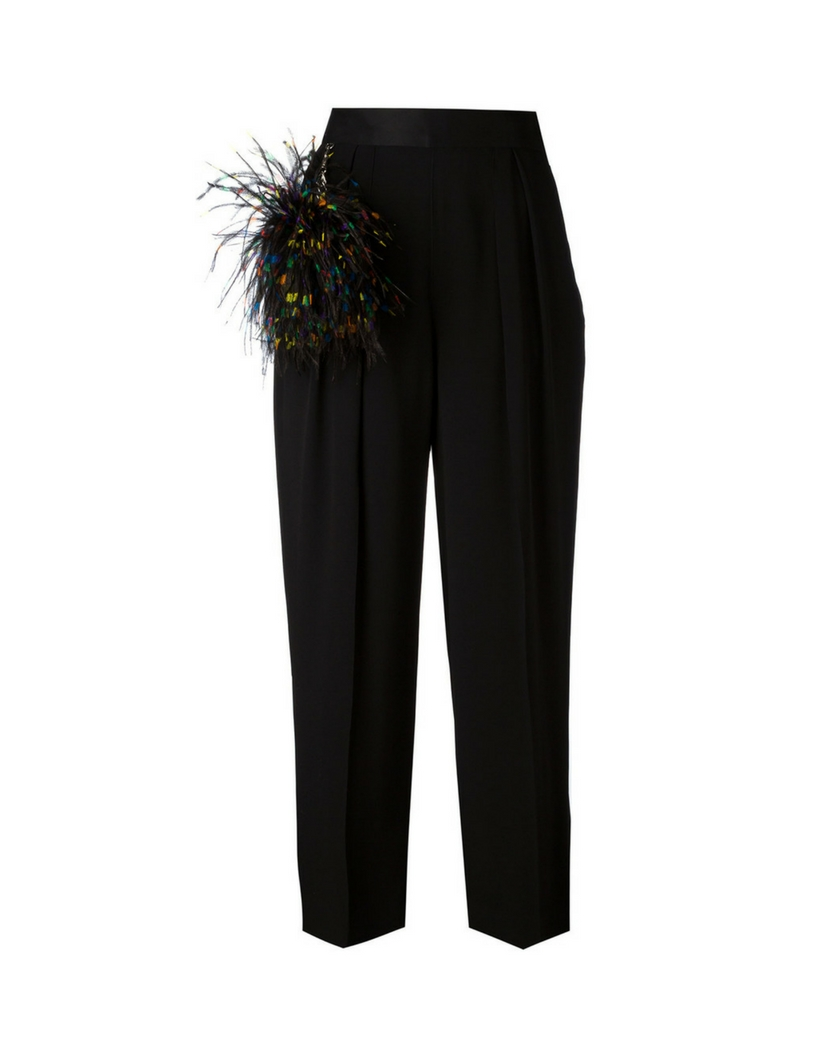 Christopher Kane feather-embellished trousers