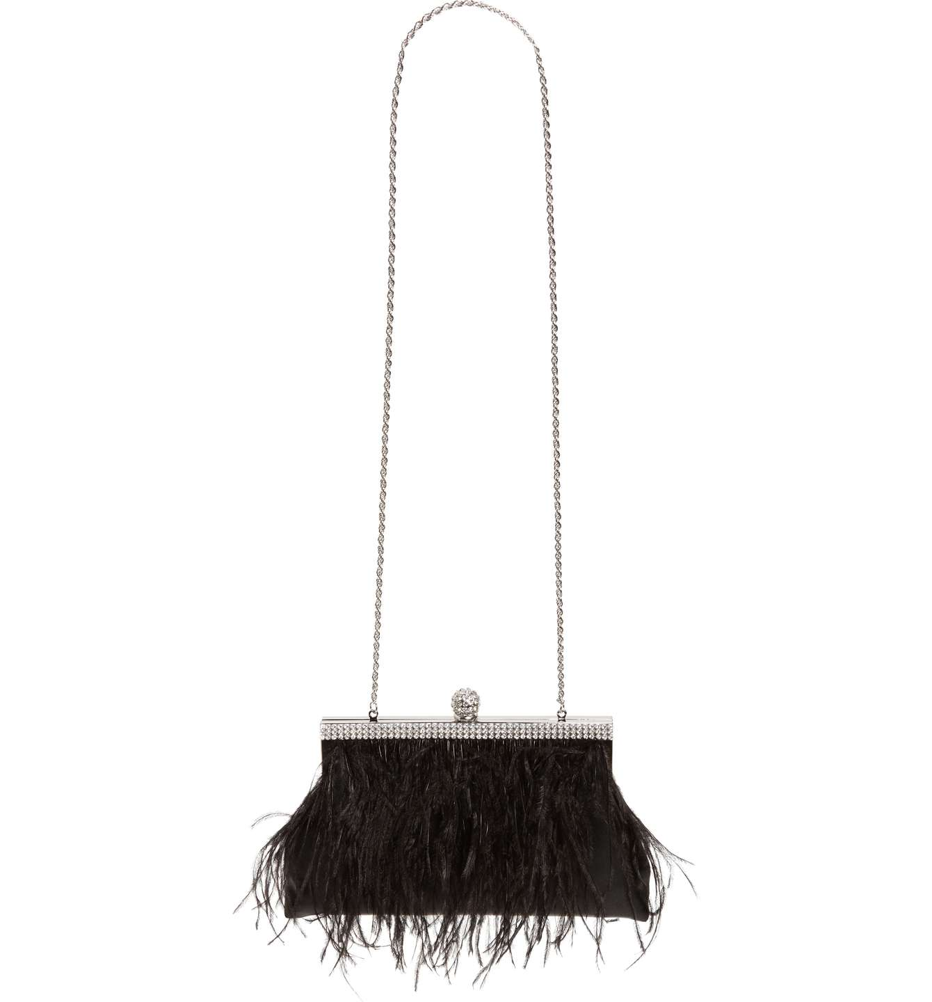 Breena Feather Trimmed Frame Clutch
