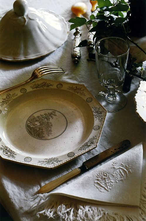 Octagonal Creil Faience Plate photo via Pinterest