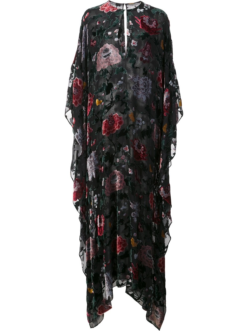 Love this  Adam Lippes Floral-Print Devore Kaftan.  I'd wear it during the day over a bikini and at night with a slip dress.
