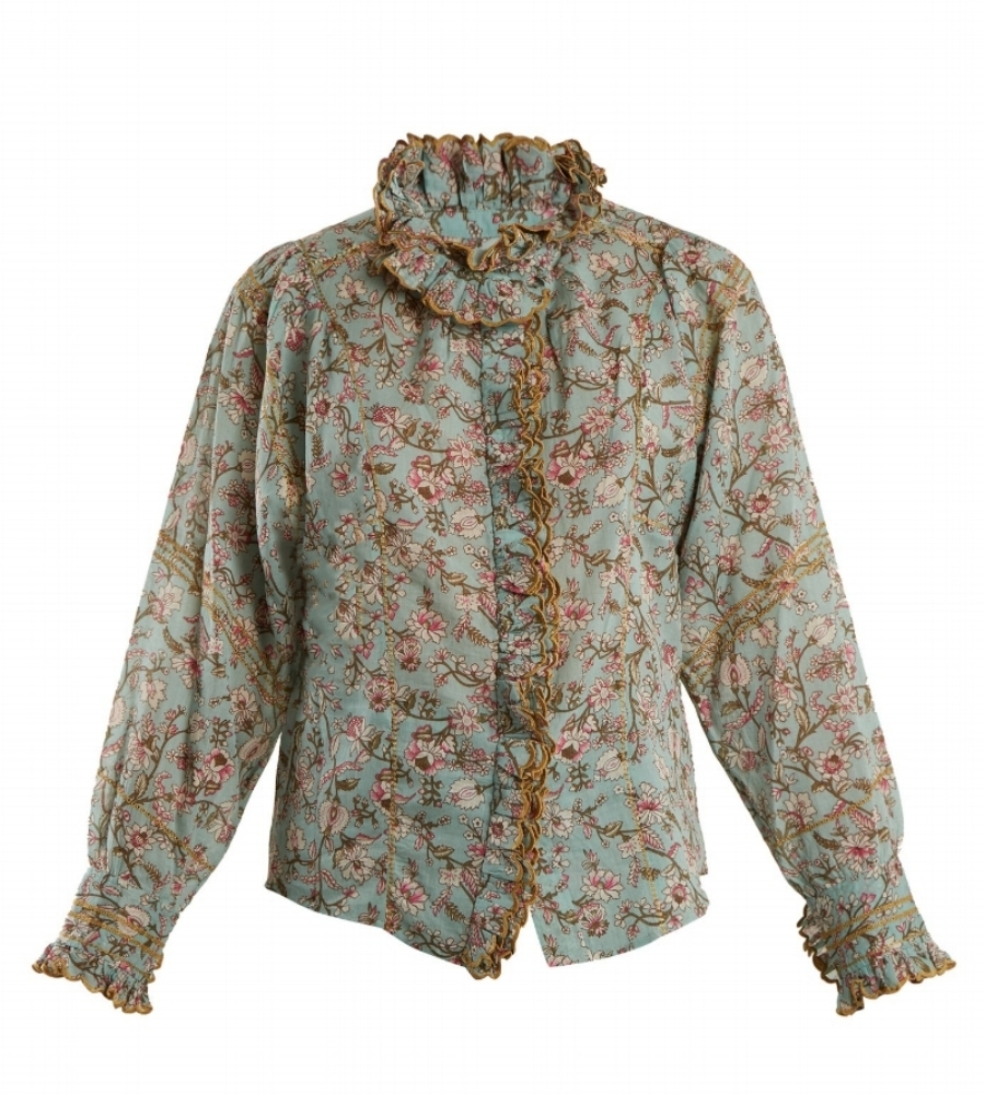 Isabel Marant Étoile Mauryn Floral-Print Ruffle-Trimmed Cotton Shirt