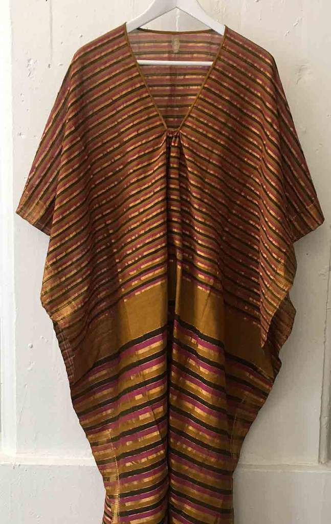 Two One Of A Kind Caftan Ochre Caftan With Pink and Gold Stripes