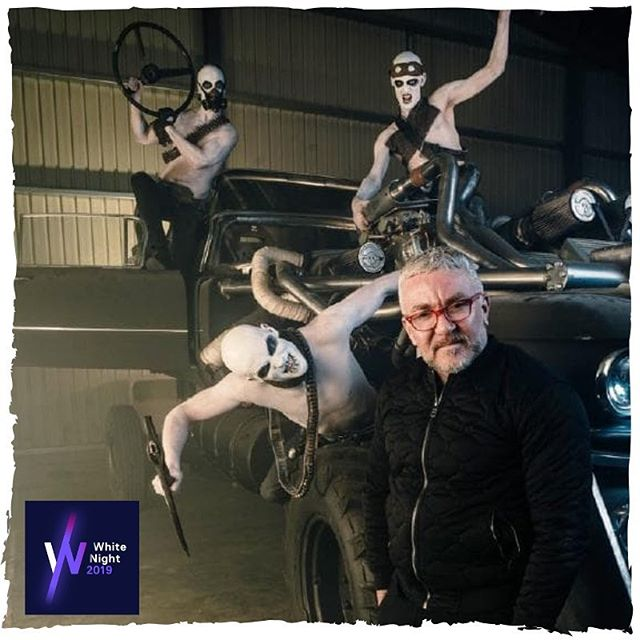 Check out this awesome behind-the-scenes shot with @jason_coleman_dance for the announcement of MAD MAX FURY ROAD at @whitenight! This #worldpremiere event will feature some of the film's most iconic and impressive vehicles - the Doof Wagon, the Gigahorse, and Mad Max's iconic Razor Cola Interceptor. Catch our Ministry of Entertainment performers live at this year's #WhiteNightReimagined . . . #whitenight #whitenightmelbourne #madmax #madmaxfuryroad #davidatkins #jasoncoleman #ministryofentertainment @jcministryofdance