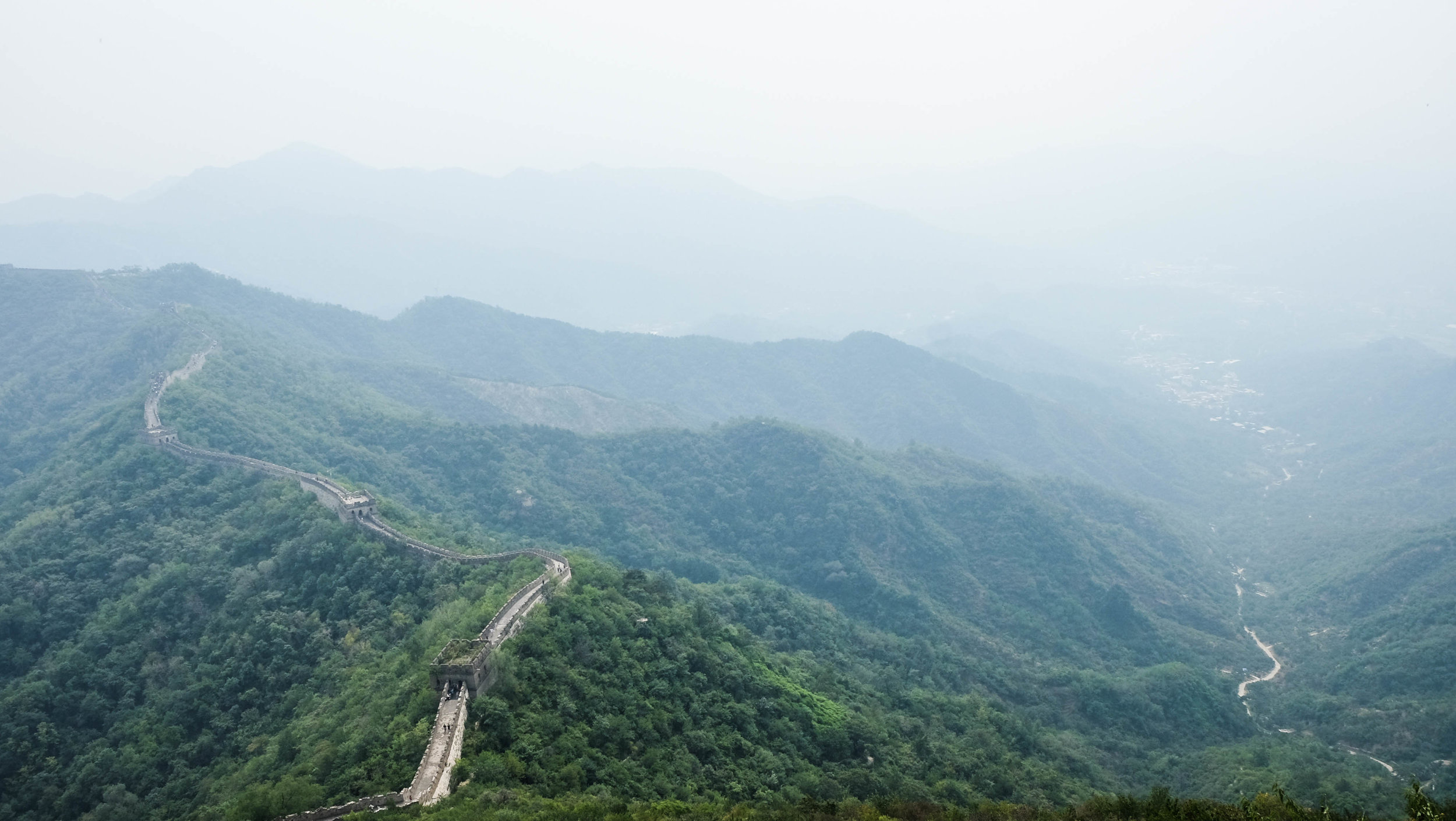 View from the peak of the Great Wall along the Mutianyu path.