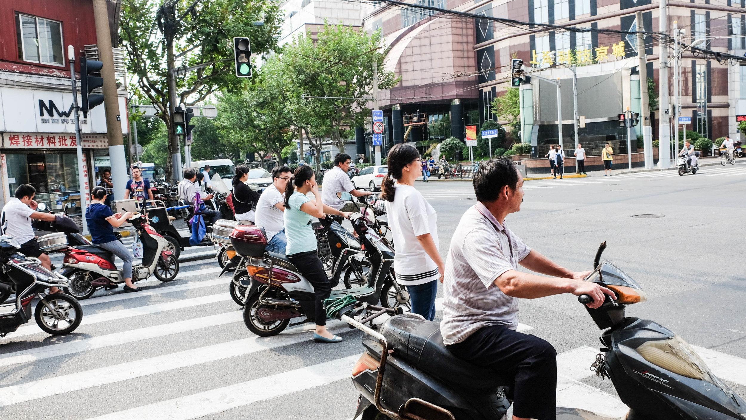 Shanghai traffic stop.