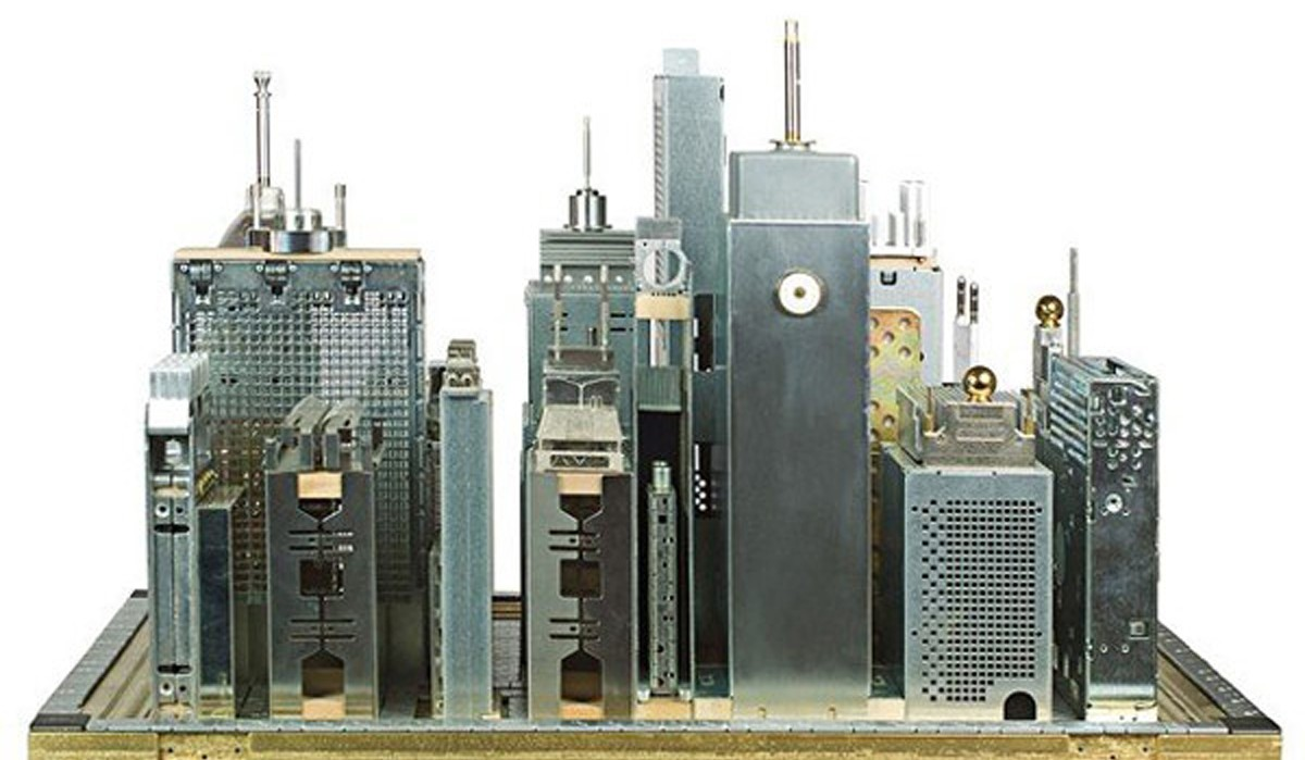 Not so archetypal image of the smart city. Franco Recchia' s microchip cities.