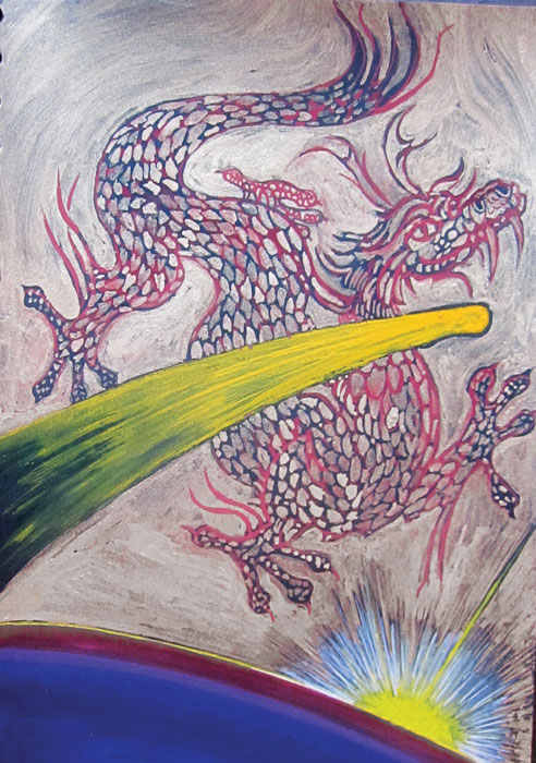 Ride the Dragon, gouache on paper, 1997