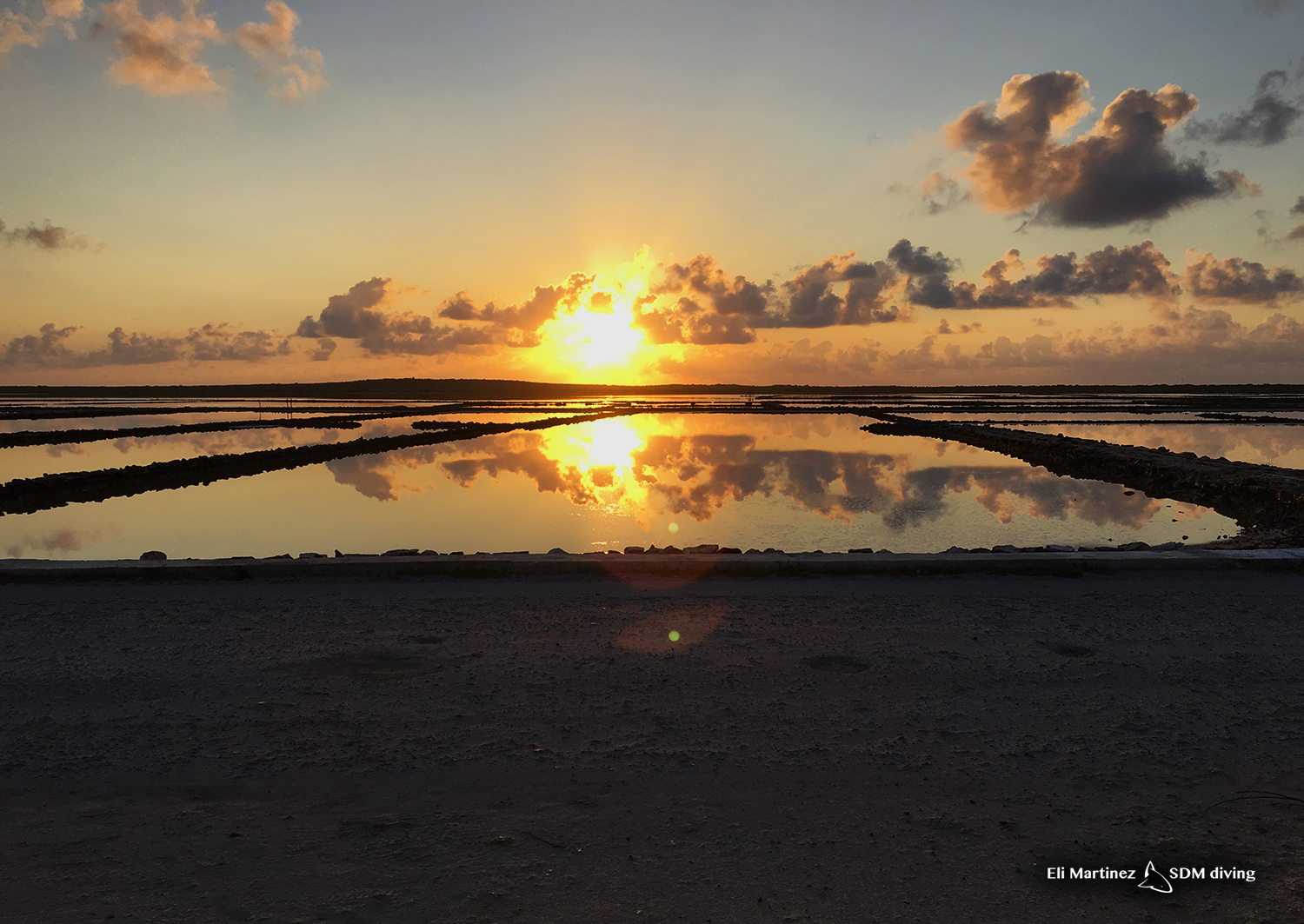 Sunrise over the salt ponds. Our view in the mornings here
