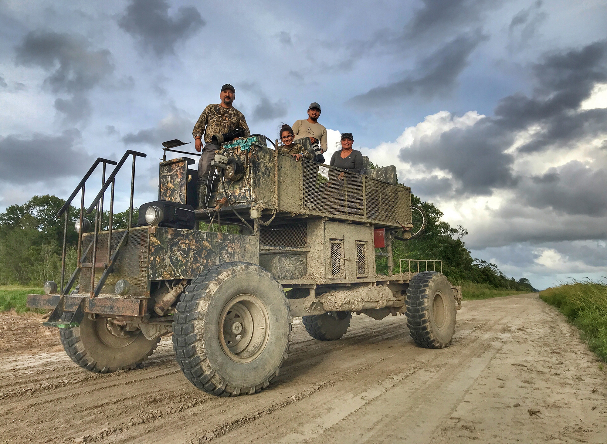 The SDM crew on the swamp buggy.