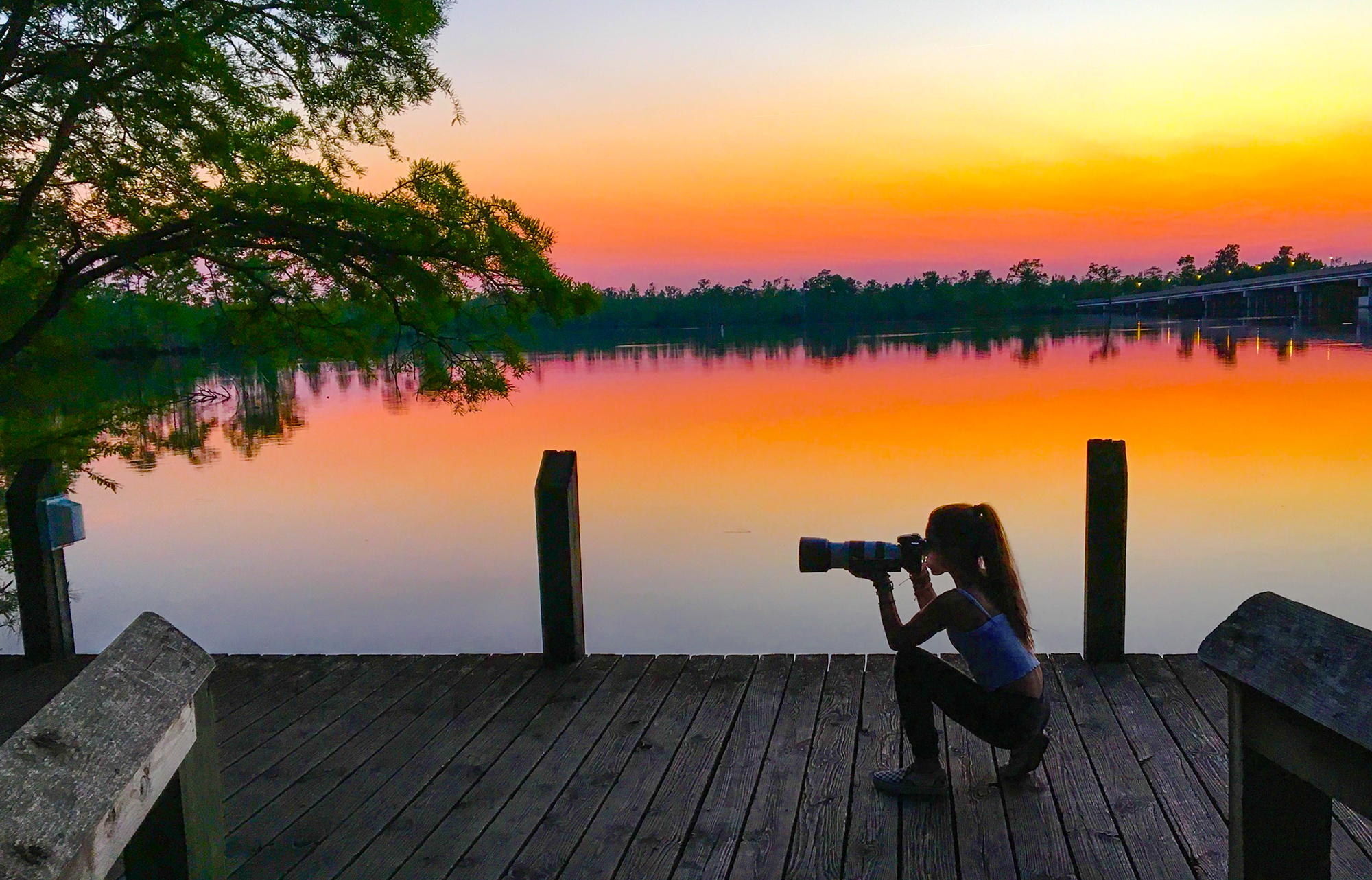 On our first day here in North Carolina, we stopped by a wildlife center at dusk to see what we could find, and we found this breath taking sunset. A magical way to kick off our adventure here.