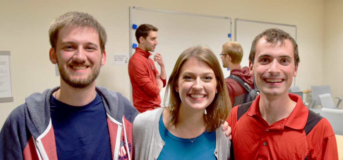 Foreground (Left to right): Grad Student Leaders Mark Miller, Katie Wullert, Eric Lebel
