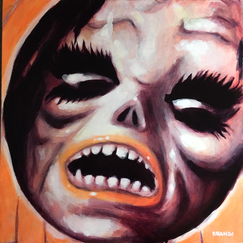 """Phantom"" Halloween Mask  12""x12"" acrylic study on panel  $1000 Shipped within the US"