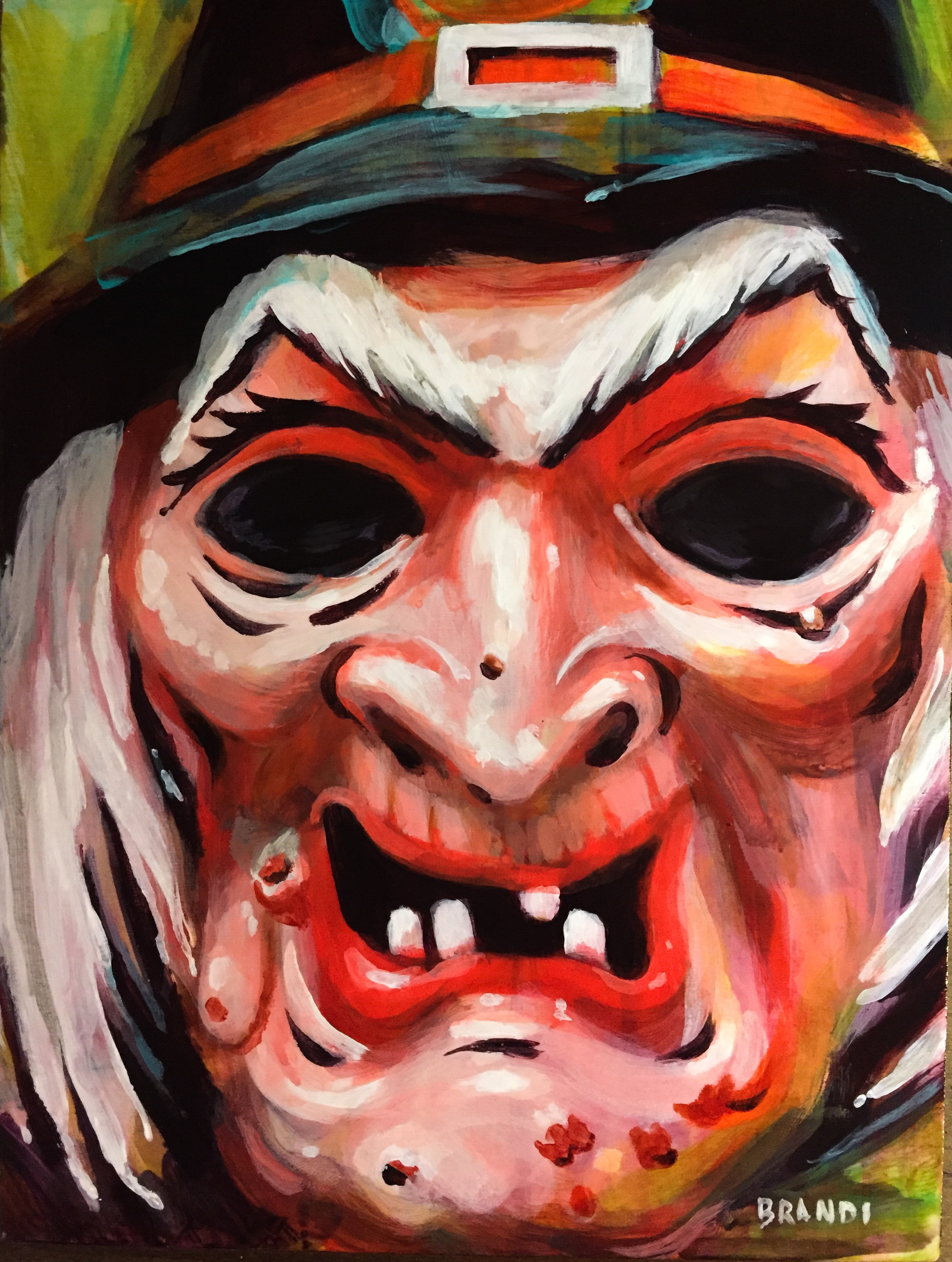 """Witch"" Halloween Mask  8""x6"" acrylic study on panel  $500 Shipped within the US"