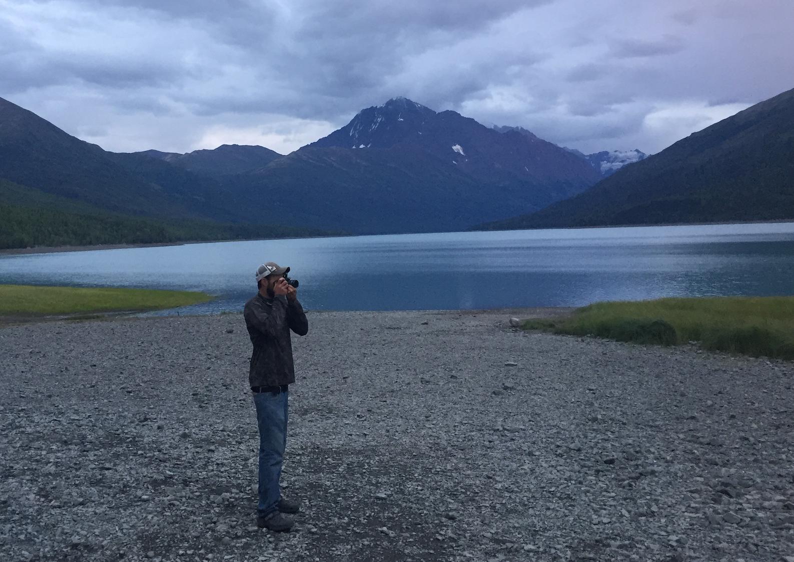 Me snapping photos at Eklutna Lake.