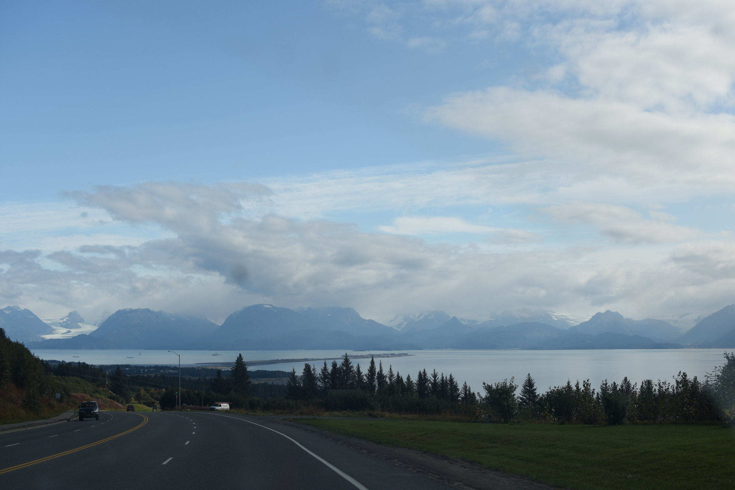 Driving into Homer toward the Spit.