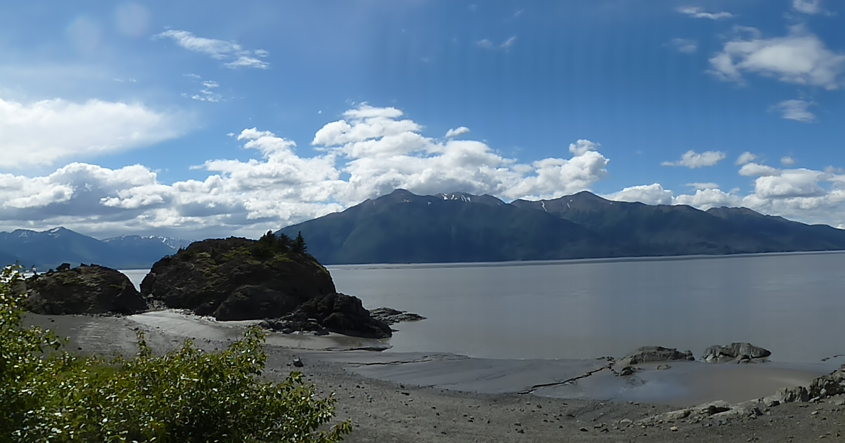 Summer views of the Turnagain Arm as you head toward the Kenai Peninsula.
