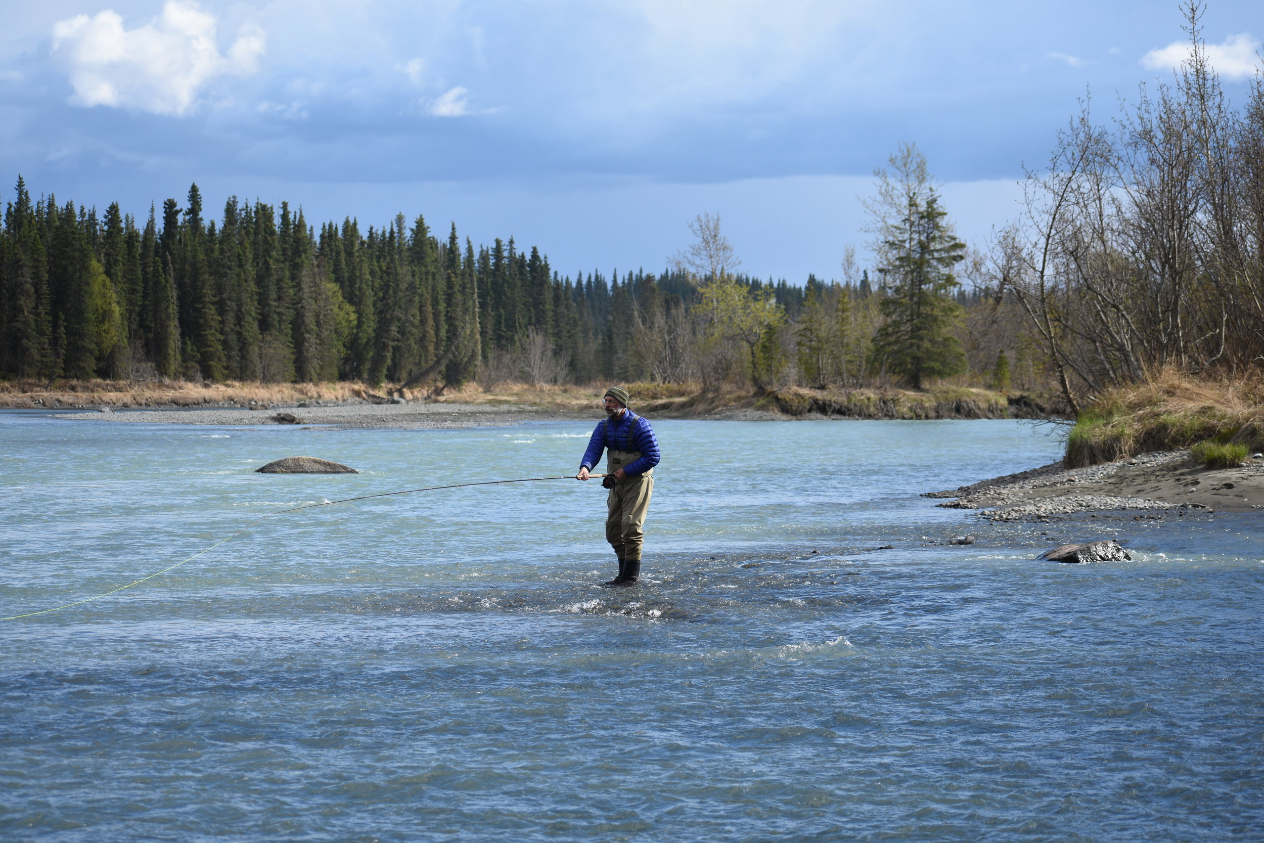 Doug setting up a snap-t on a classic king salmon run. Part of the enjoyment of spey fishing is the solitude and rhythmic casting and swinging through the run.
