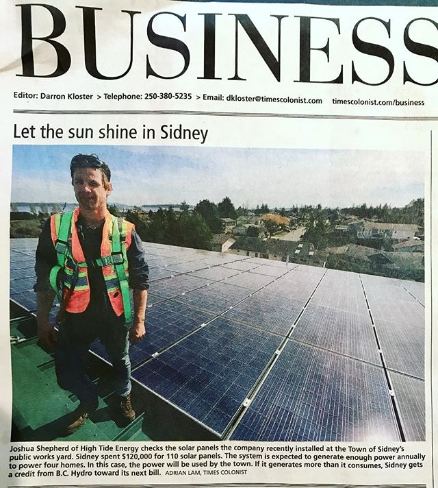 A nice little feature by the Times Colonist on High Tide Energy Inc ☀️ . . . . . #solar #renewableenergy #victoria #britishcolumbia #timescolonist #hightideenergy