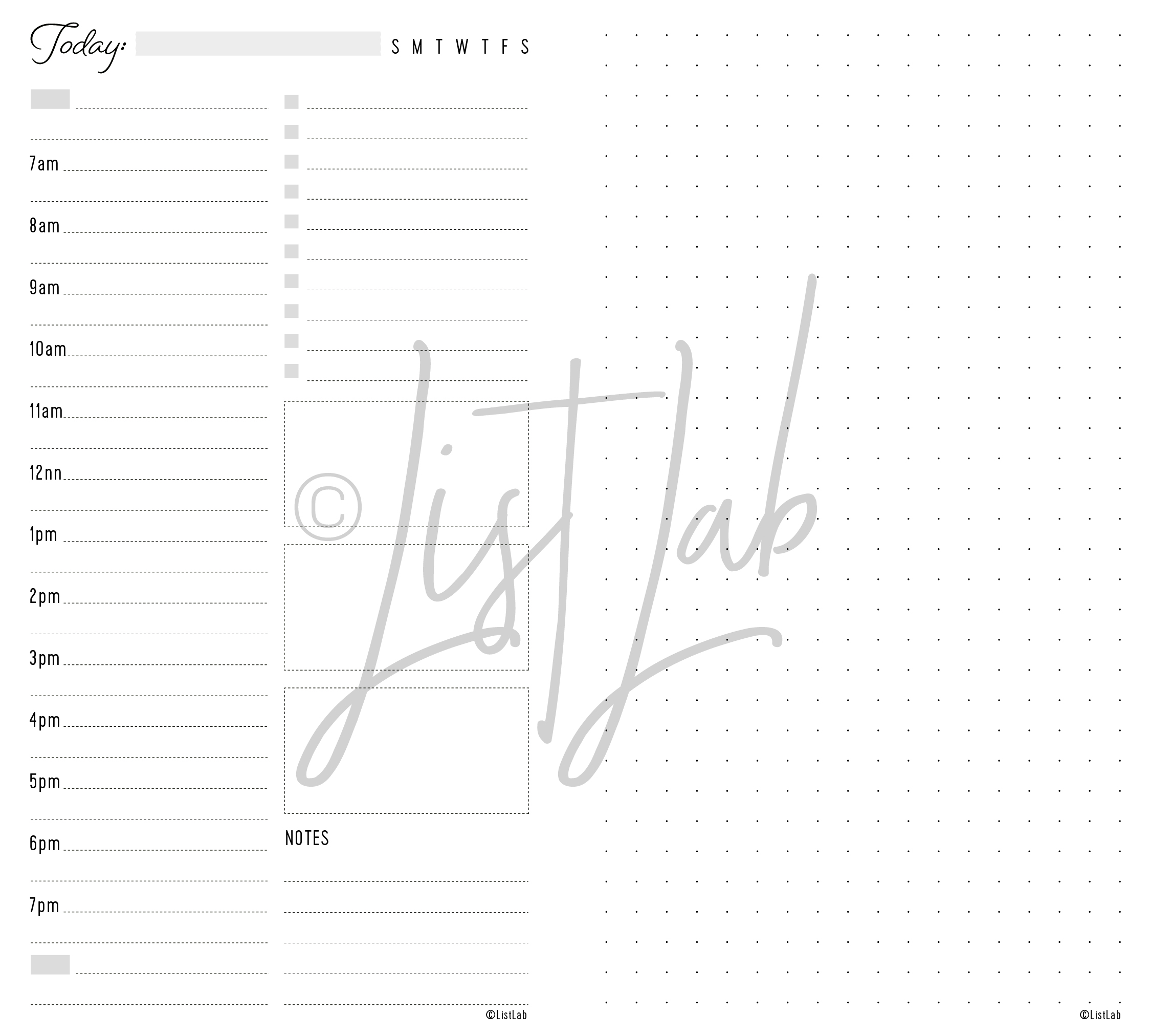 DAILY SCHEDULE VARIATION: DAILY SCHEDULE AND DOTTED PAGE (DAILY S WITH VARIATION)