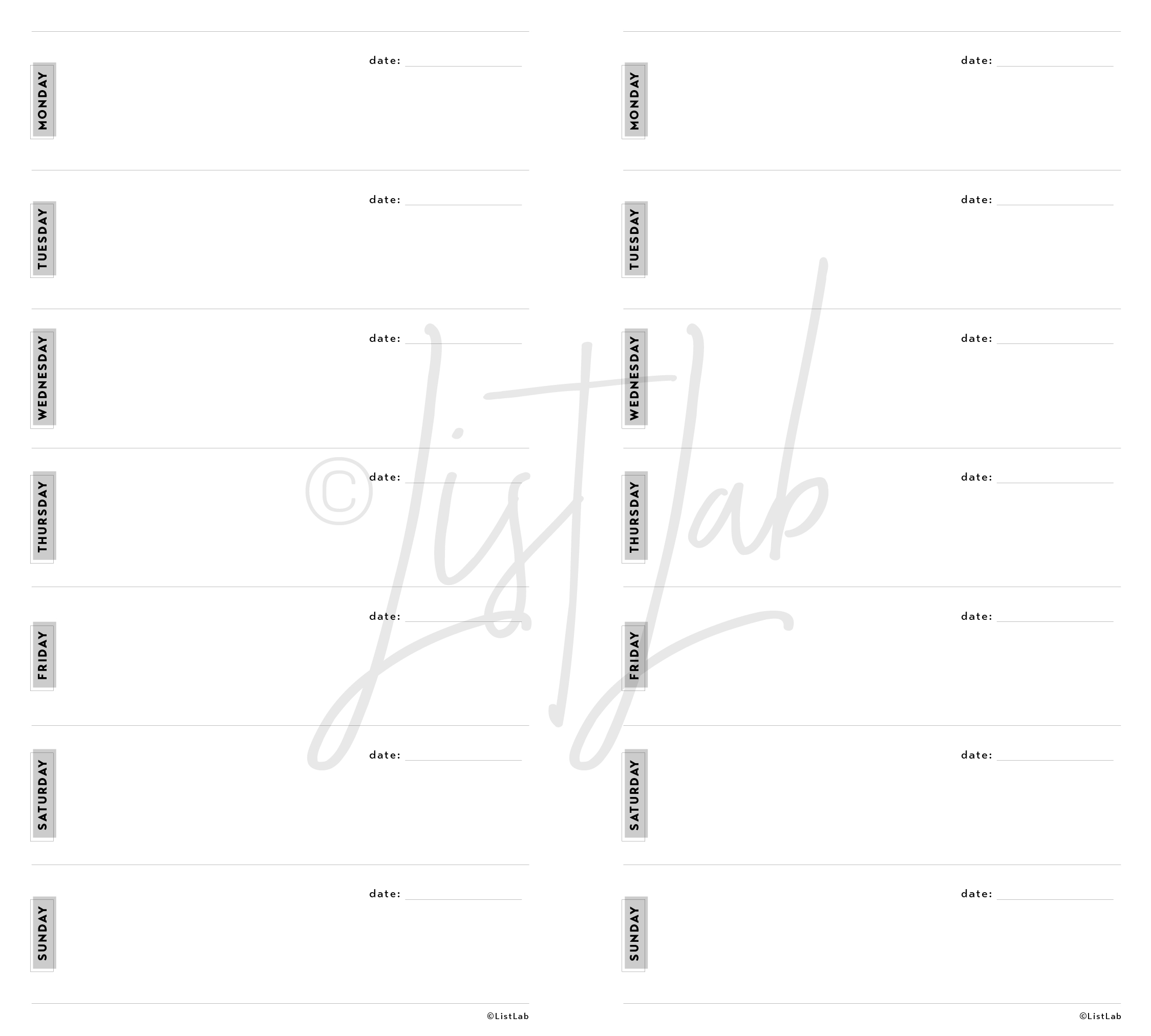 1-PAGE WEEKLY HORIZONTAL (WO1P H WITH VARIATION)